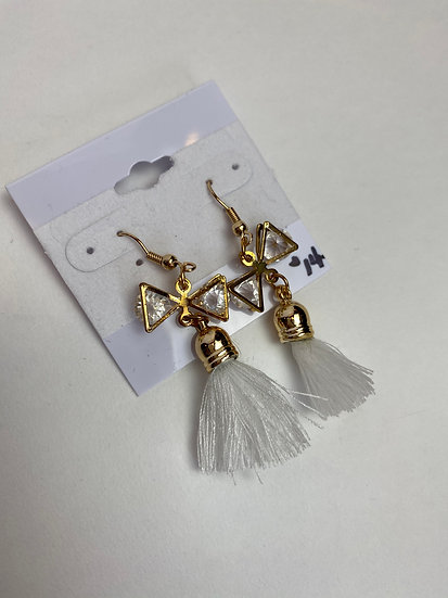 Ivory Tassel and Rhinestone Bow Gold Earrings