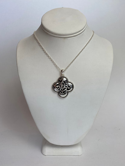 Black and Silver Cutout Necklace Great Everyday Necklace