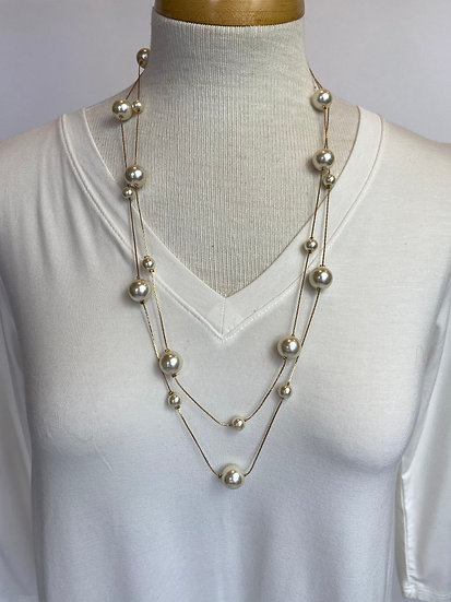 Dbl Gold chain with multiple Pearls Light & Airy!