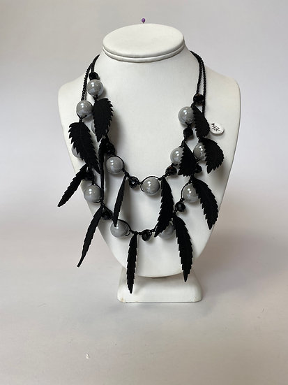 Black and Grey Feather Necklace