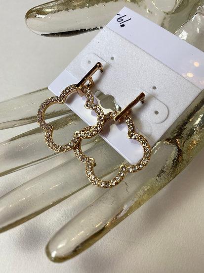 Gold with Rhinestones Earrings