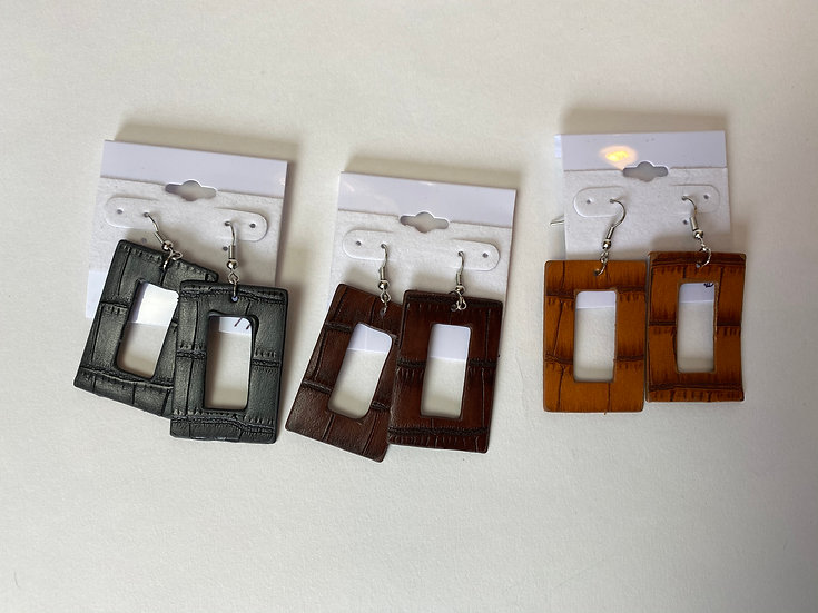 Recycled Leather Lightweight Earrings