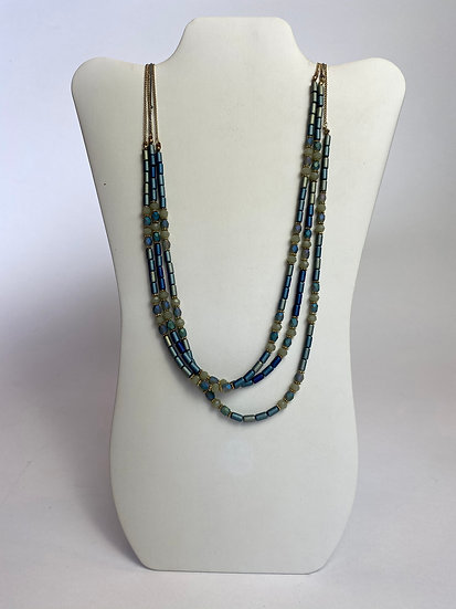 Irredescent Beaded Gold Blue & Purple Sage Necklace