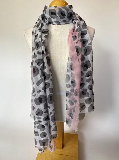 Black, White and Pink Animal Print Scarf