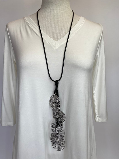 Black Leather Necklace & Silver Medalions Funky Fun