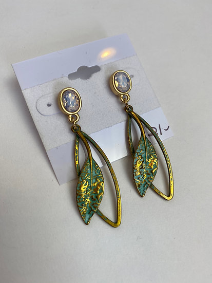 Gold and Turquoise Leaf Earrings