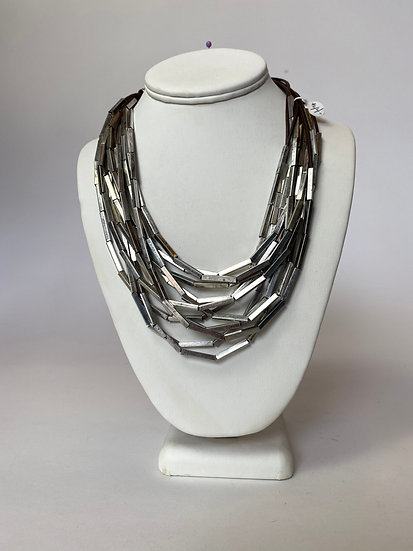 Silver and Brown Leather MultiLayer Necklace