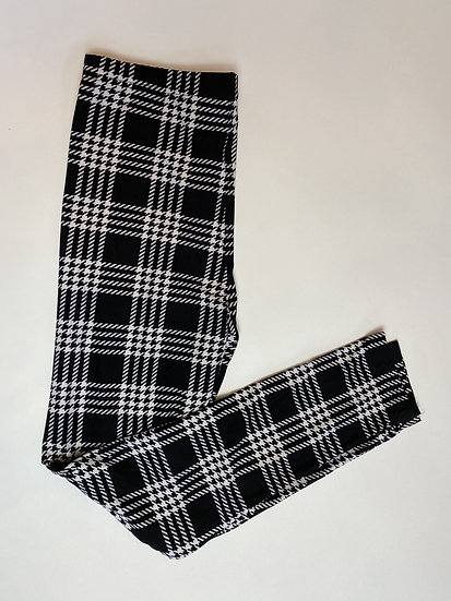 Houndstooth Black and White Plaid Leggings