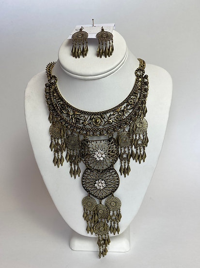 Antique Gold Stunning Large Statement Necklace and Earrings