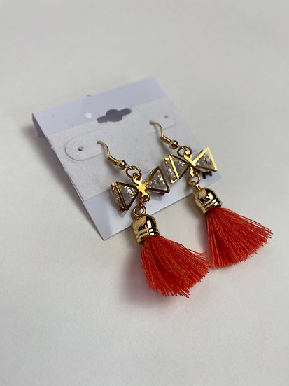 Salmon Tassel and Rhinestone Bow Gold Earrings
