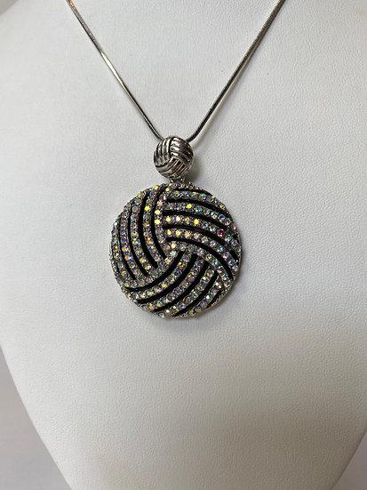 Black, Silver and Rhinestone Necklace