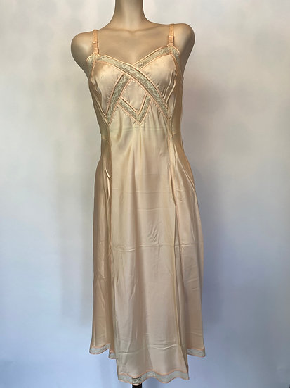 VTG NOSWTAGS Satin Rayon Peach Ivory Lace Inserts Slip Dress sz 36