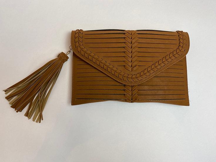 Caramel Braided Crossbody Bag