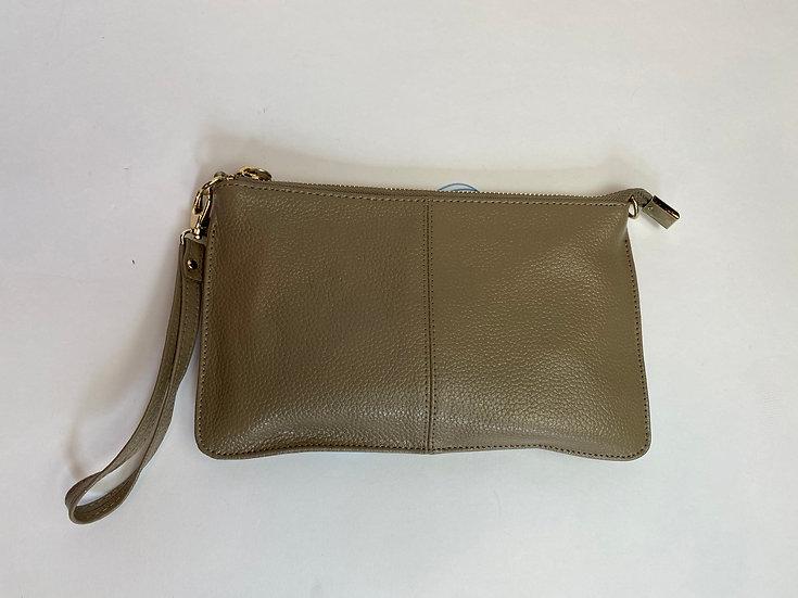 Greenish Brown Leather Wristlet