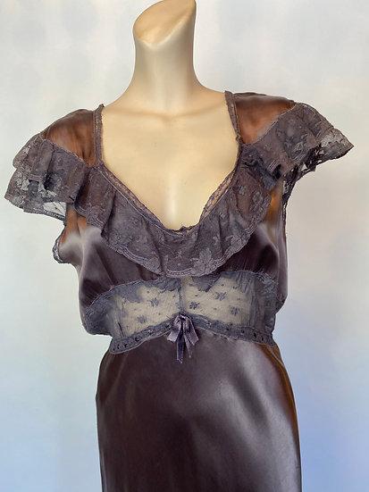 VTG WOW NOSWTAG Amethyst Satin Rayon Long Nightgown Dress SZ 36