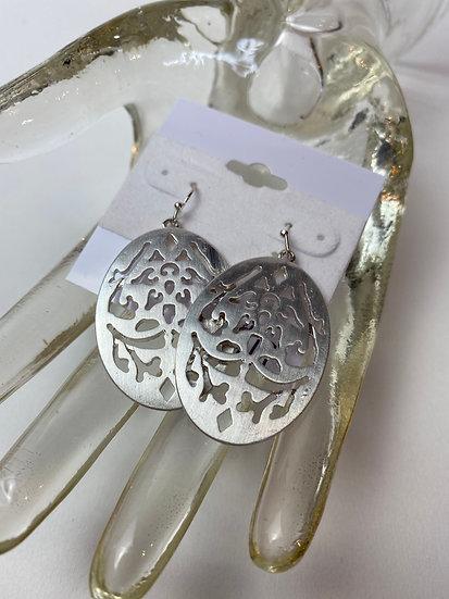 Oval Cut Out Silver Earrings
