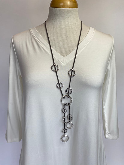 Silver Hoops and Gray Leather Fabulous Necklace