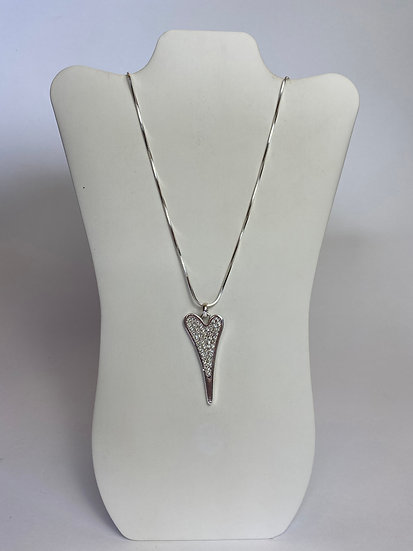 Heart and Silver mixed w Rhinestones Long Necklace