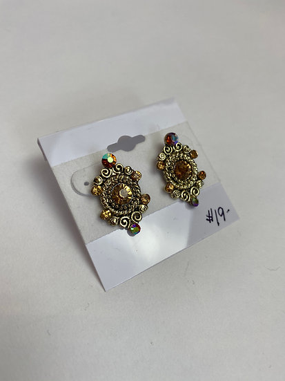Small Gold Colorful Gem Earrings