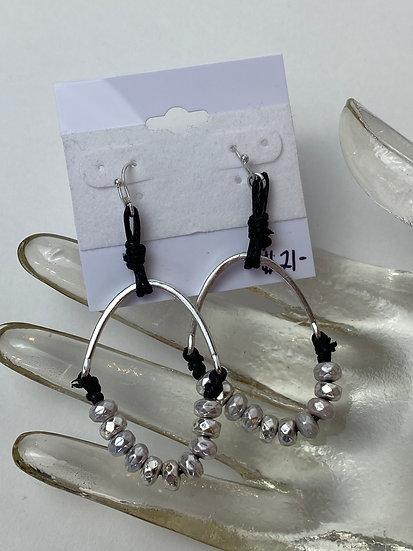 Black and Silver Beaded Hoop Earrings