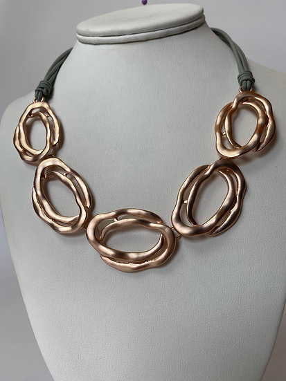 Rose Gold and BluishGrey Necklace