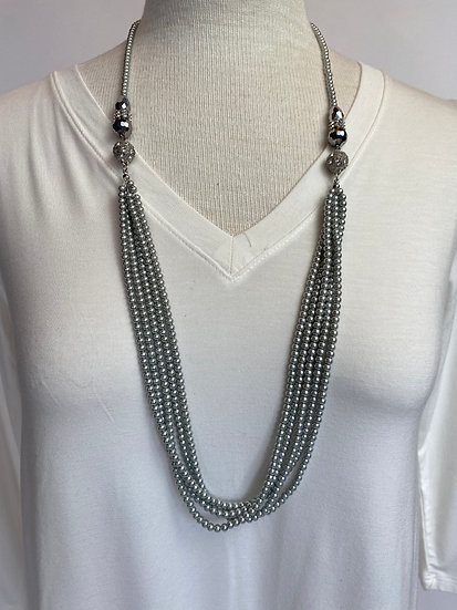 Gray Pearls Crystals & Irredecent Beads Necklace Pretty