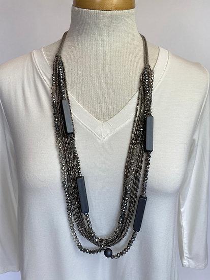Gray Beaded Necklace w Round & Rectangular Beads