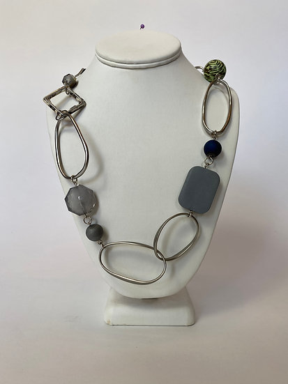 Silver Hoop and Beaded Necklace