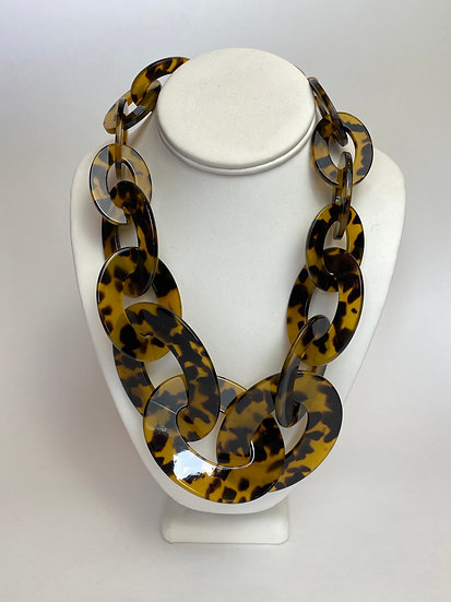 Faux Tortoise Shell Loop Statement Necklace