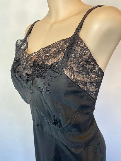 VTG NOSWTAGS SHINEY BLACK SATIN RAYON SLIP DRESS 1940'S SZ 40 BIAS CUT
