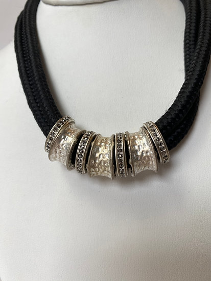 Black, Silver and Rhinestone Rings Necklace