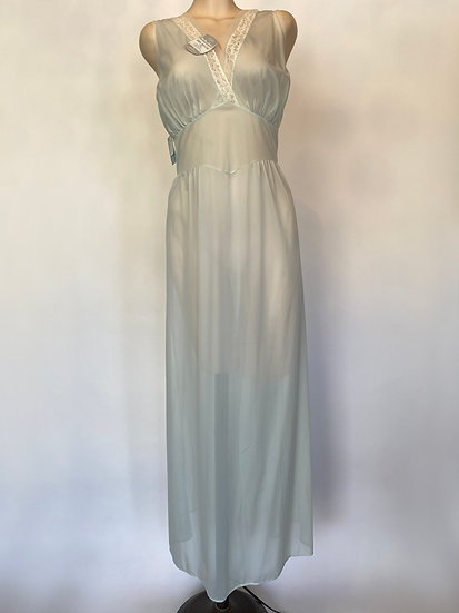 VTG Delish NOS W Tags Sheer Gorgeous Long Nylon Nightgown w Lace SZ 36