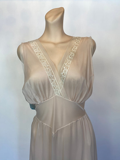VTG Delightful NOSWTags Sheer Palest Pink Long Nylon Nightgown Dress Lace SZ 36