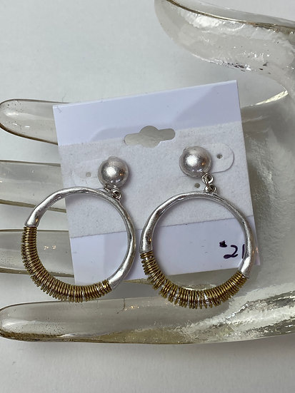 Silver and Gold Wire Wrapped Hoop Earrings