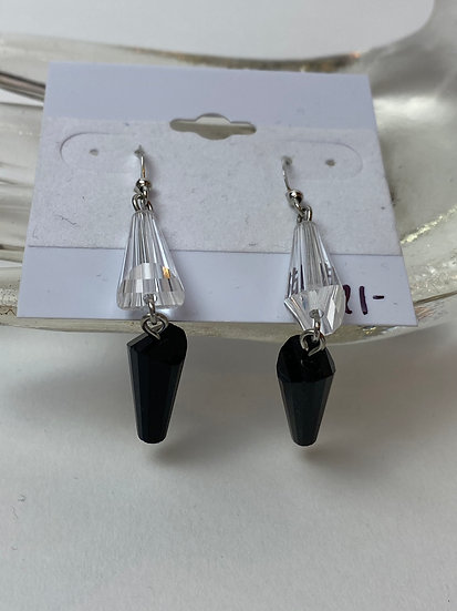 Black and Clear Beaded Dangle Earrings