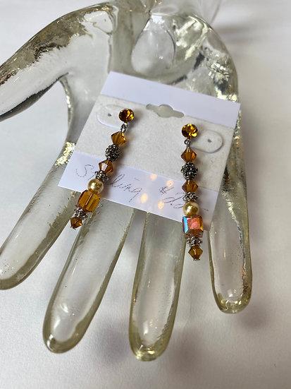 Crystal, Sterling Amber Earrings