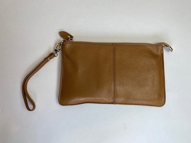 Brown Leather Wristlet