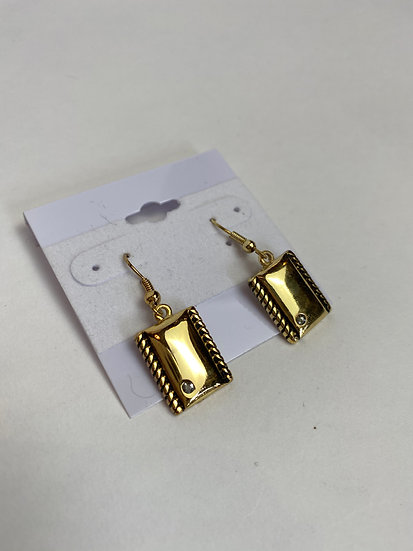 Small Gold Earrings with a Small Rhinestone