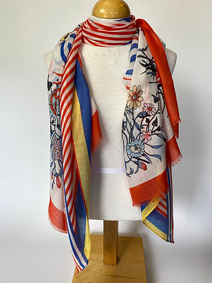 Stripes and Floral Scarf / Wrap