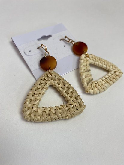 Triangle Tan and Rust Earrings