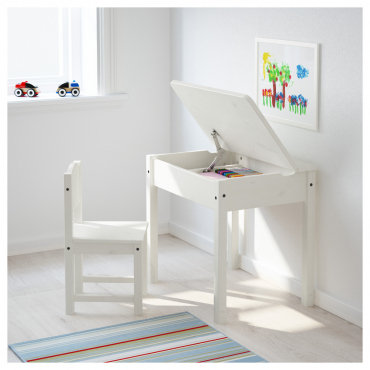 Փայտե բացվող սեղան 1 աթոռով