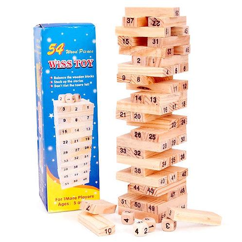 Փայտե խաղ Ջենգա թվերով 48 հատ փոքր