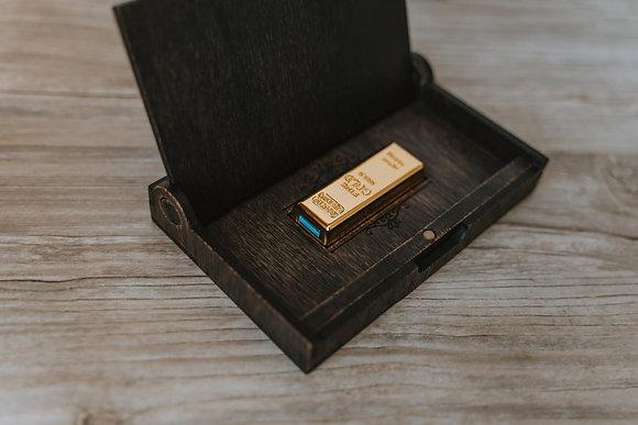 Caja + USB GOLD de 32gb 3.0