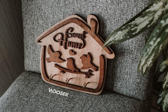 Porta Llaves de Madera-Sweet Home Aves