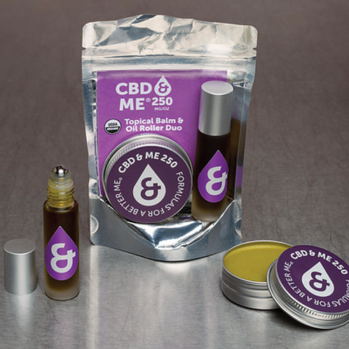 CBD & Me: Topical Duo Bundle - Organic Hemp Extract Balm & Oil Roller 250 mg/oz