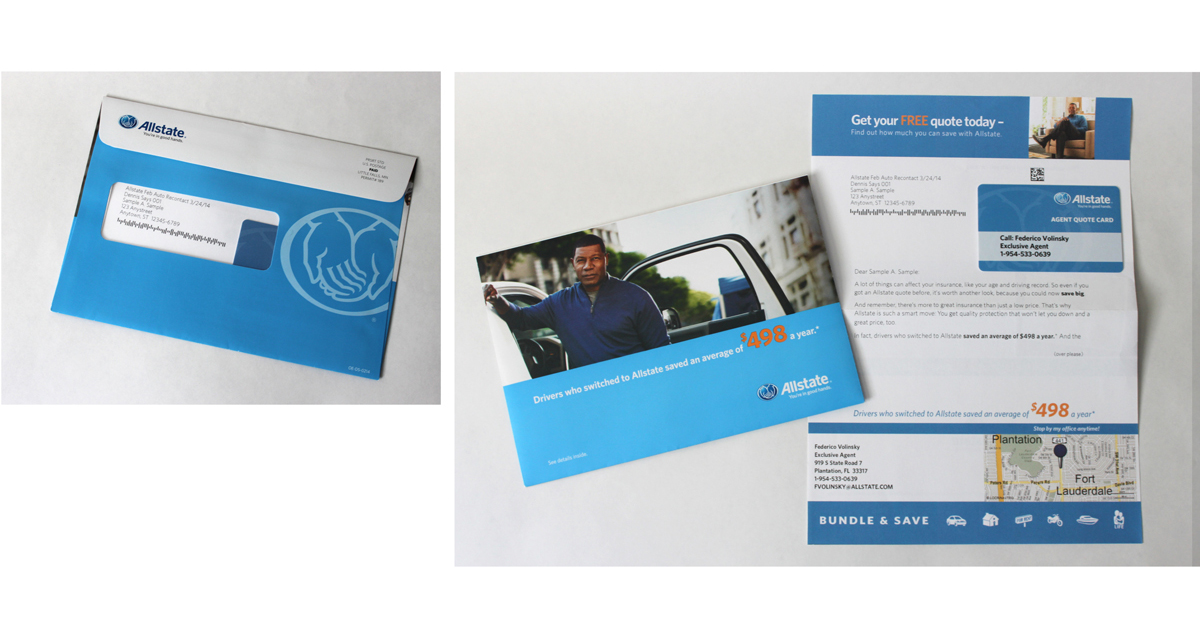 Allstate Direct Mail Package