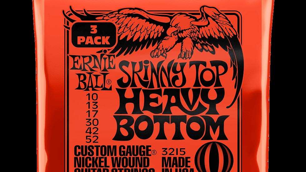 Ernie Ball Skinny Top Heavy Bottom Electric Guitar Strings 10-52 3 Pack