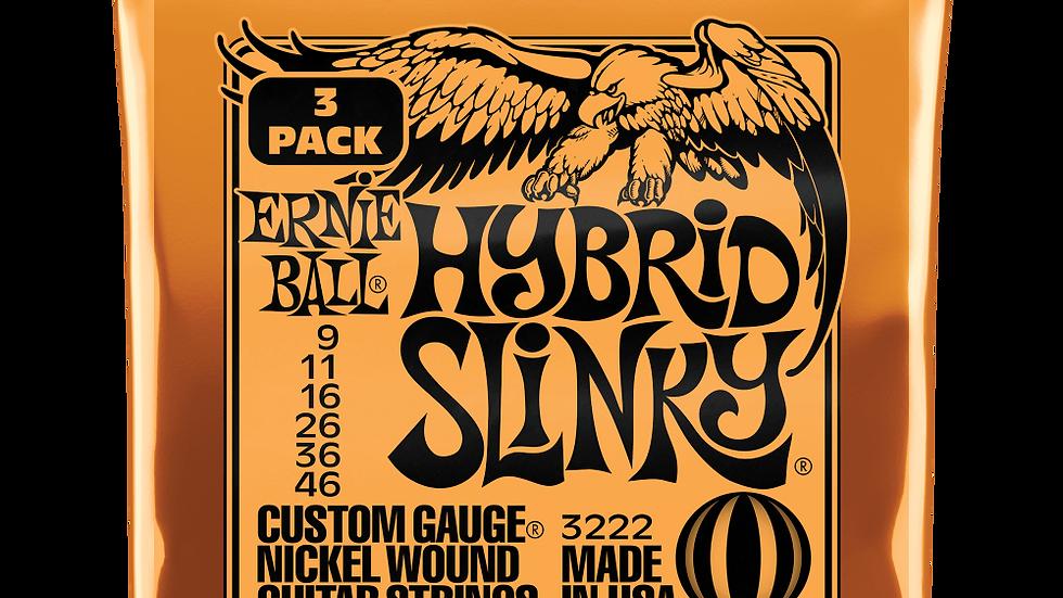 Ernie Ball Hybrid Slinky Electric Guitar Strings 9 - 46 3 Pack