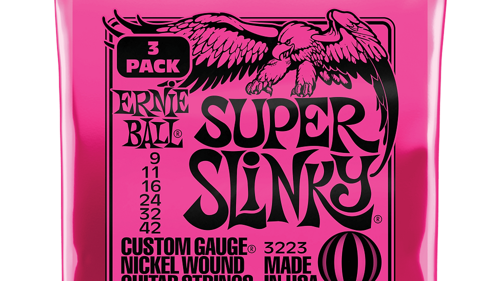 Ernie Ball Super Slinky Electric Guitars Strings 9-42 3 Pack