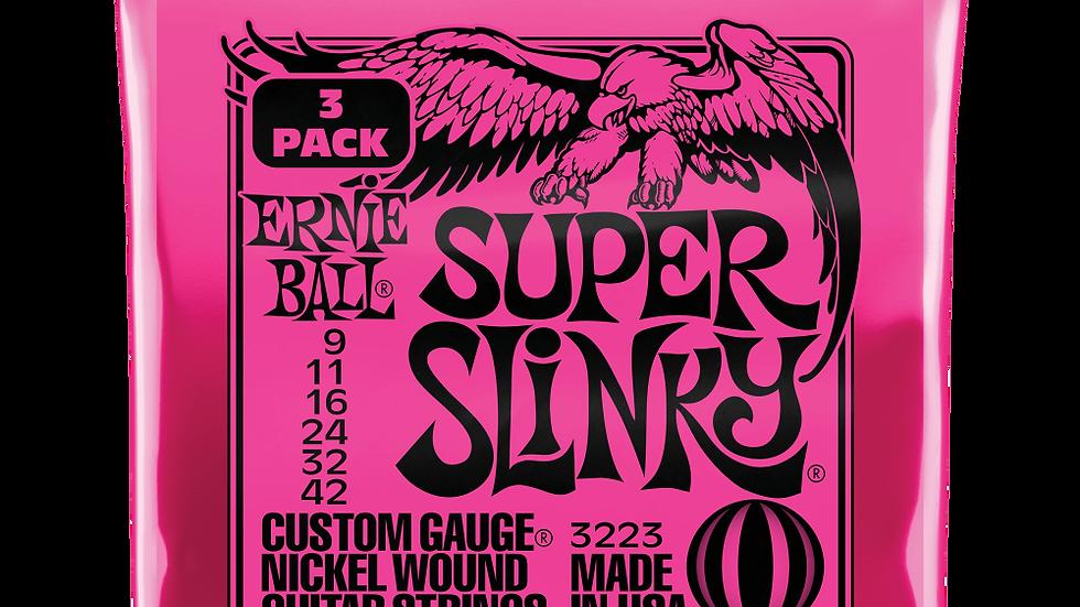 Ernie Ball Super Slinky Electric Guitars Strings 9-42 3 Pack